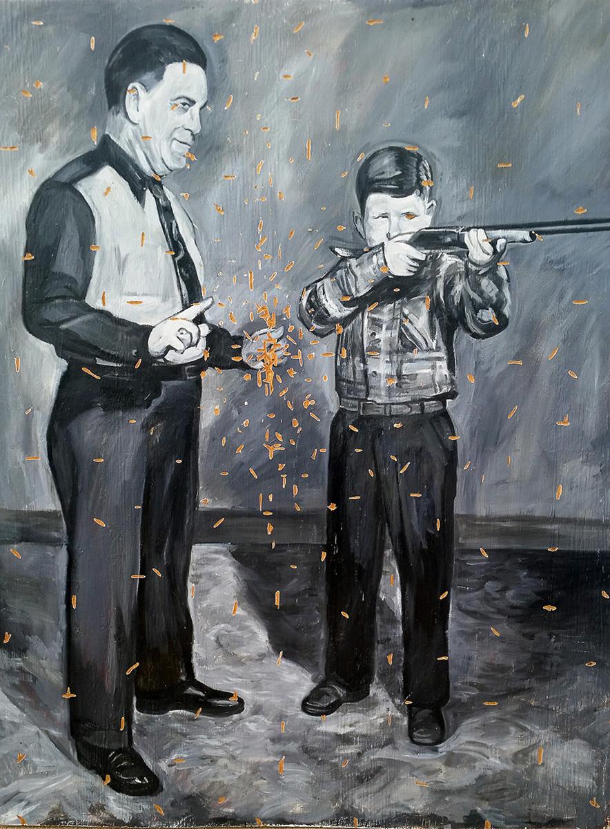 Sherman Finch, painting on plywood, gunsin art, boyhood